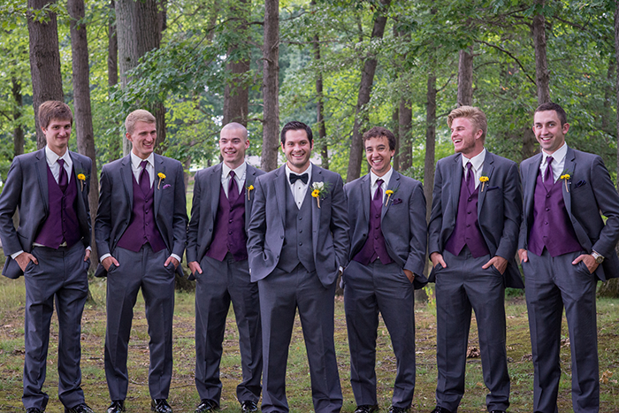 Jessica & Nathan - Fall-ing Head over Heels | three & Eight Photography | Real Ohio Wedding as seen on TodaysBride.com | fall wedding, fall wedding decor, wedding photography, sunflower wedding, purple and sunflower wedding, plum purple groomsmen attire