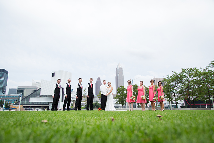 Ashley & Brad - The Club at Key Center Wedding | Orchard Photography | Real Ohio Wedding as seen on Todaysbride.com | Cleveland wedding, wedding photography, coral bridesmaid gowns dresses