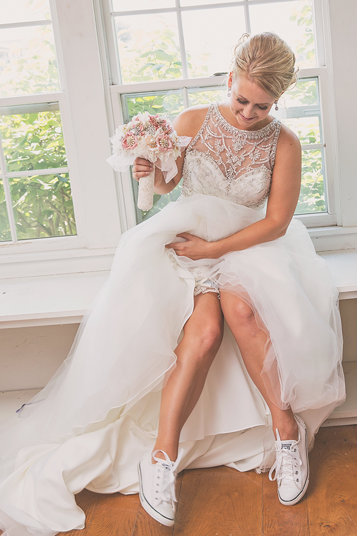 Amanda & Shawn - The Sweetest Day   Oh Snap! Photography   Real Wedding As seen on TodaysBride.com   Real ohio wedding, blush and gold wedding, wedding photography, blush and gold wedding color pallet bride shoes, bridal converse, bride in sneakers