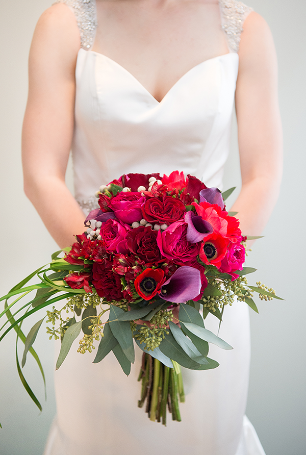 Meghan & Roberto - Seasonal Scarlet Wedding Day | Real Cleveland Ohio Wedding as seen on TodaysBride.com, scarlet red and grey pewter wedding inspiration, elegant wedding red bridal bouquet