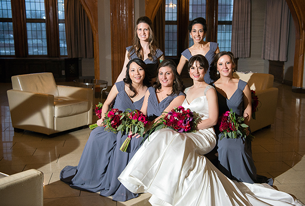 Meghan & Roberto - Seasonal Scarlet Wedding Day | Real Cleveland Ohio Wedding as seen on TodaysBride.com, scarlet red and grey pewter wedding inspiration, elegant wedding grey bridesmaids dresses