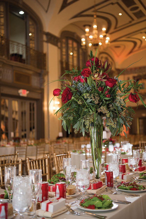 Meghan & Roberto - Seasonal Scarlet Wedding Day | Real Cleveland Ohio Wedding as seen on TodaysBride.com, scarlet red and grey pewter wedding inspiration, elegant wedding wedding centerpieces, coke wedding decor