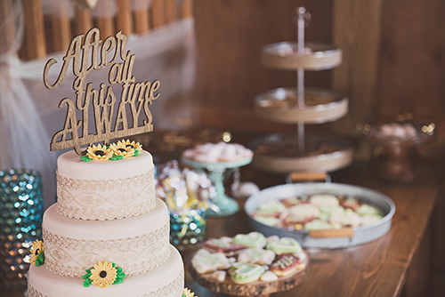 Jackie & Nicholas - Rustic Tree Farm Wedding | Oh Snap! Photography, real Ohio wedding as seen on TodaysBride.com, country ohio wedding, rustic wedding, cake topper, dessert table, after all this time, always cake topper, quote cake topper, harry potter wedding ideas