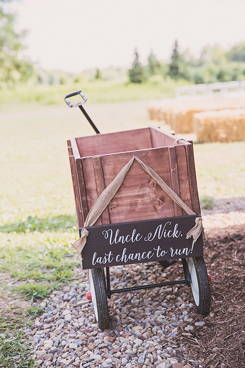 Jackie & Nicholas - Rustic Tree Farm Wedding | Oh Snap! Photography, real Ohio wedding as seen on TodaysBride.com, country ohio wedding, rustic wedding, ring bearer wagon