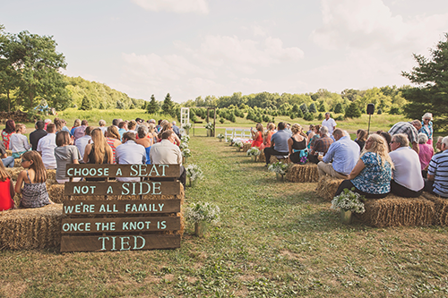 Jackie & Nicholas - Rustic Tree Farm Wedding | Oh Snap! Photography, real Ohio wedding as seen on TodaysBride.com, country ohio wedding, rustic wedding, choose a seat not a side pallet sign, hay bale ceremony