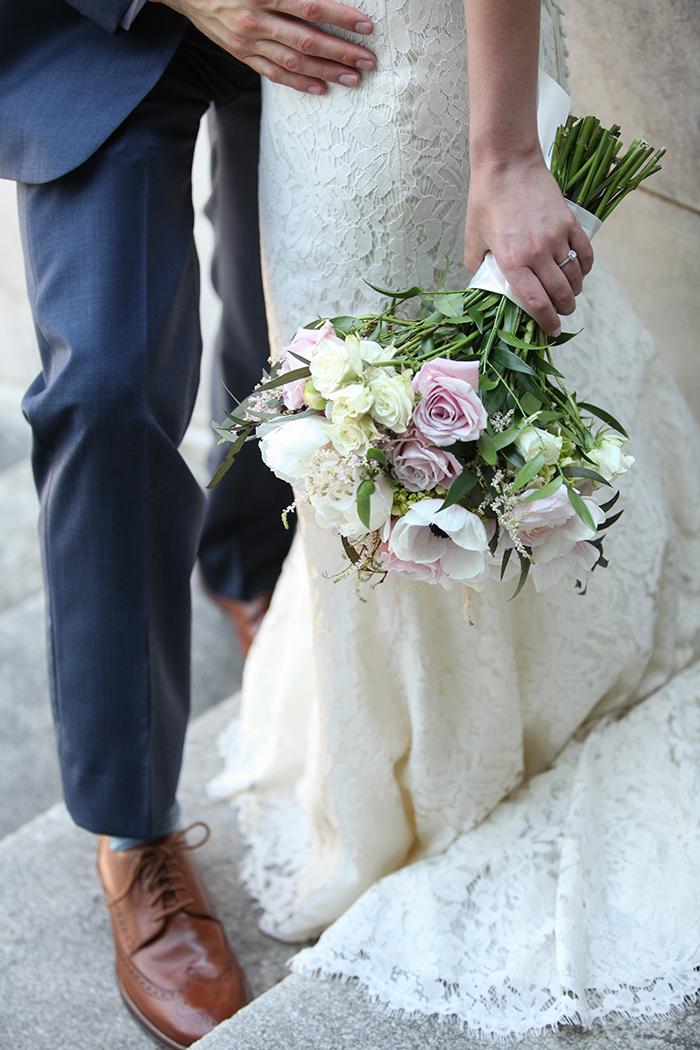 Lauren & Ryan - Cleveland Chic Real Wedding   Malick Photo   Today's Bride real cleveland wedding, navy and pink wedding ideas, classic wedding decor wedding cake