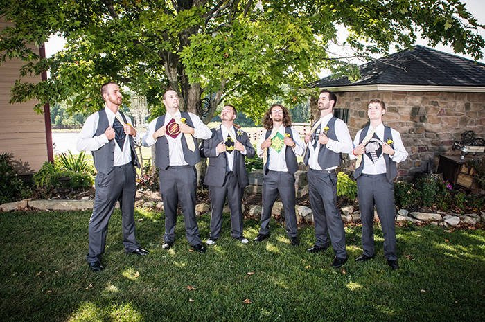 Caitlin & Patrick - Peacock Ridge Wedding | Real Ohio Wedding as seen on TodaysBride.com, photographed by Black Dog Photo Co, Rustic wedding, superhero groomsmen shirts, comic book wedding ideas,