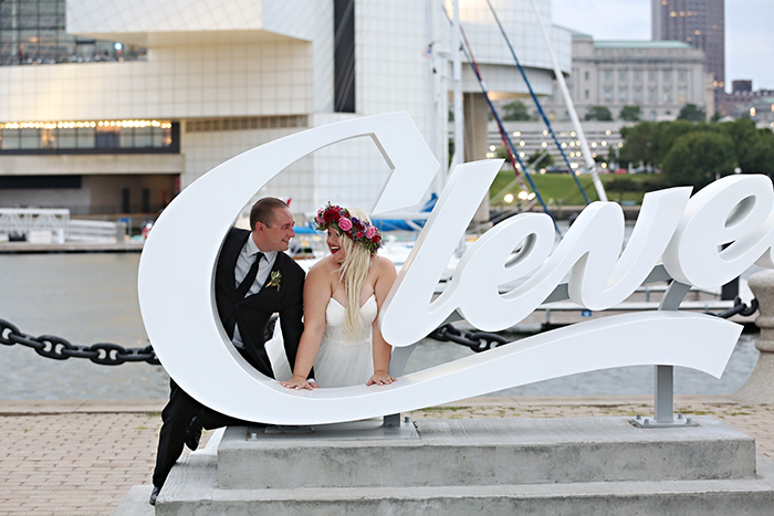 Amanda & Matthew - Quirky Cleveland Wedding, Real ohio wedding as seen on TodaysBride.com, B Frohman Imagaing & Design, fun wedding decor ideas, cleveland wedding ideas, dinosaur wedding decor, bright wedding ideas, flower crown