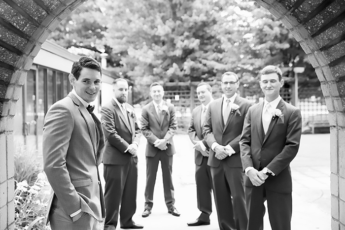 Jessica & David - Romantic Medina Wedding, real ohio wedding photographed by OH Snap! Photography, romantic vintage wedding as seen on TodaysBride.com, groom and groomsmen tuxedos, gray groomsmen tuxedos