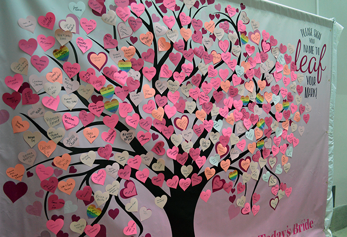 Leaf Your Mark! Practice writing your new name or wedding hashtag on the name tree