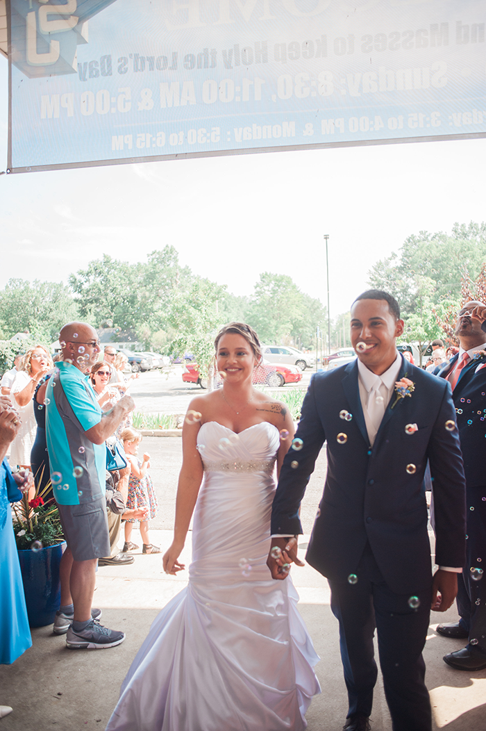 Bridgette & Sanders - Avon Lake Real Wedding, That Wandering Light Photography, as seen on TodaysBride.com, coral and navy wedding