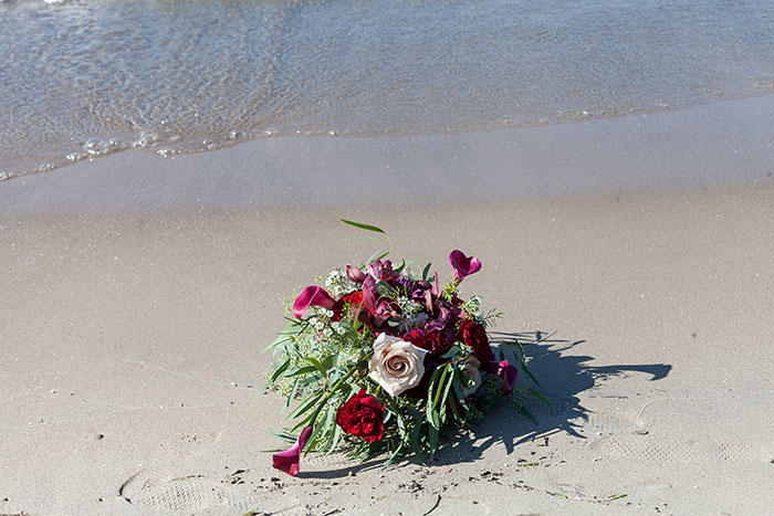 Amanda & Edward - Wedding by the Water, beach wedding, burgundy and gold wedding, photographed by LMAC Photography