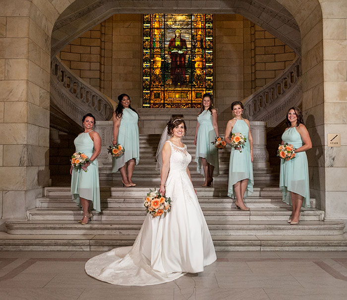 Stephanie & Matthew - Mint & Peach Medina Wedding, mint bridesmaid dresses