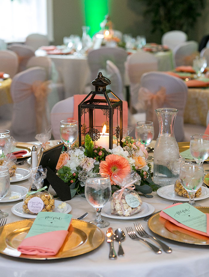 Stephanie & Matthew - Mint & Peach Medina Wedding decor, spring wedding centerpieces, spring wedding ideas