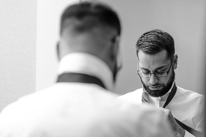 Brent & Marc's Cleveland Skyline Wedding, real wedding, gay wedding, wedding inspiration, navy and burgundy wedding