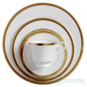 Dauphine Gold Dishware Collection from All Occasions Party Rental