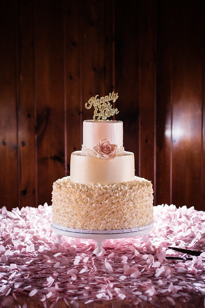 Kristin & Eric - Romantically Rustic | Black Dog Photo Co | As seen on Todaysbride.com | wedding cake, blush wedding cake, script weddng cake topper