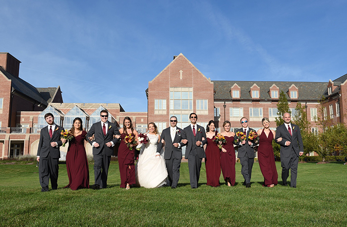 Rebecca & Justin - Burgundy Bliss | Love is All You Need Photography | As seen on TodaysBride.com | Wedding Photography, Fall Wedding, fall groomsmen and bridesmaids