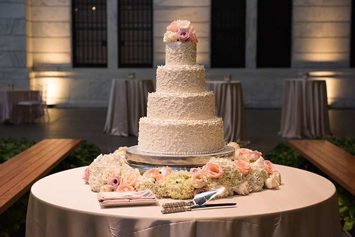 Shannon & Andrew - A Modern Fairy Tale | Photos by New Image Photography | As seen on TodaysBride.com | wedding cake, floral wedding cake, ivory wedding cake