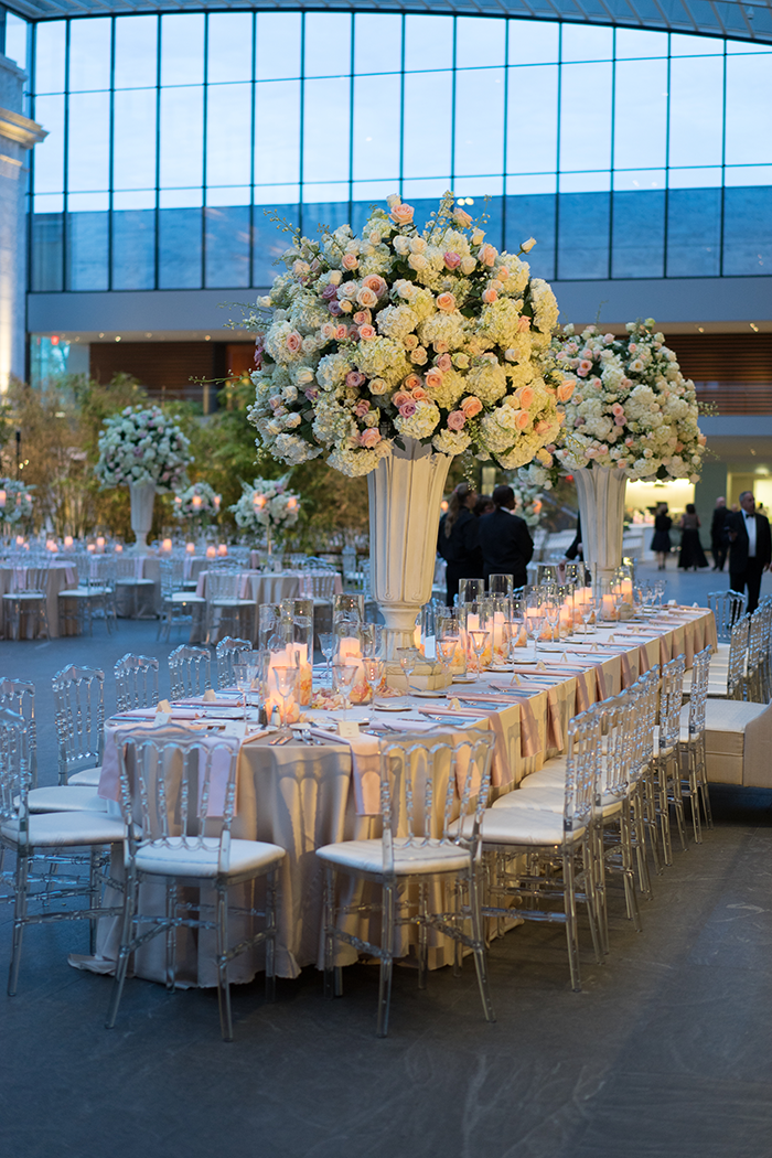 Shannon & Andrew - A Modern Fairy Tale | Photos by New Image Photography | As seen on TodaysBride.com | wedding centerpieces, art museum wedding, grand centerpieces, large centerpieces, floral centerpieces