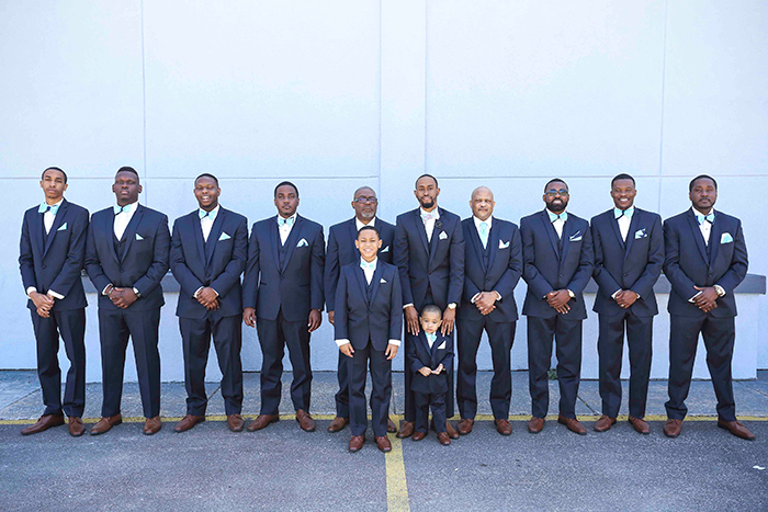 Lanetta & Ricardo - Truly Teal | Real Wedding | JazzyMae Photography and Karen Menyhart Photography | Teal wedding, aqua wedding, groomsmen attire, navy groomsmen, teal bow ties,