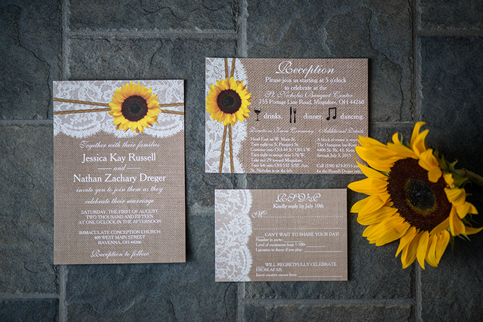 Jessica & Nathan - Fall-ing Head over Heels | three & Eight Photography | Real Ohio Wedding as seen on TodaysBride.com | fall wedding, fall wedding decor, wedding photography, sunflower wedding, purple and sunflower wedding, wedding invitations stationery