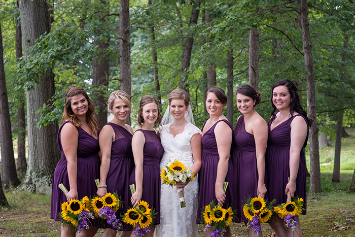 Jessica & Nathan - Fall-ing Head over Heels | three & Eight Photography | Real Ohio Wedding as seen on TodaysBride.com | fall wedding, fall wedding decor, wedding photography, sunflower wedding, purple and sunflower wedding, plum bridesmaid gowns dresses
