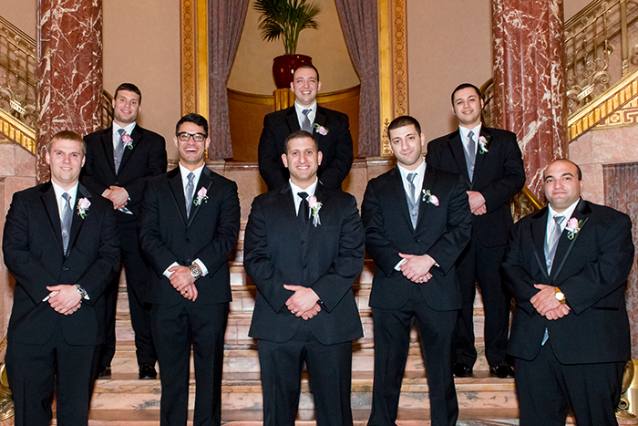 Krysten & Farres - Classic Cleveland Wedding | John Paul Studios, LLC | As seen on Todaysbride.com Real Weddings | Ohio wedding, pink wedding, groom and groomsmen tuxedos