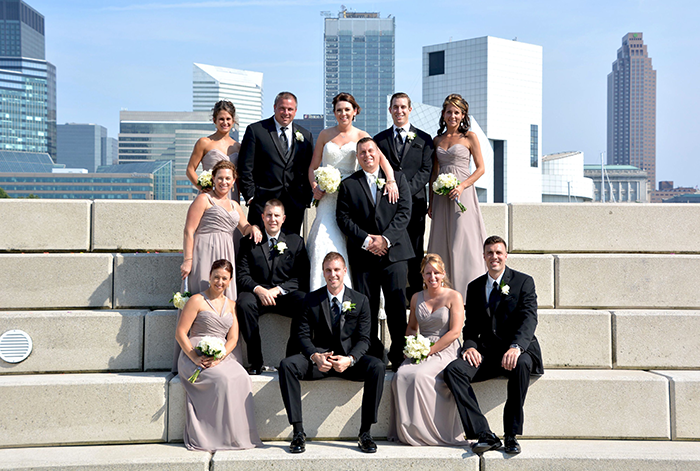 Jennifer & George - Cleveland Skyline Celebration | Love is All you Need Photography | Real Wedding as seen on Todaysbride.com | Real Ohio Wedding, Cleveland Wedding, Blush and turqoise wedding, Cleveland Wedding photos, bridessmaids and groomsmen