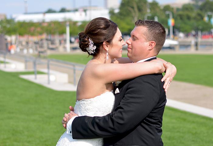 Jennifer & George - Cleveland Skyline Celebration | Love is All you Need Photography | Real Wedding as seen on Todaysbride.com | Real Ohio Wedding, Cleveland Wedding, Blush and turqoise wedding, Cleveland Wedding photos,