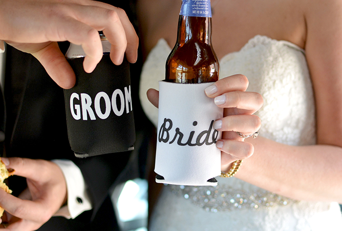Jennifer & George - Cleveland Skyline Celebration | Love is All you Need Photography | Real Wedding as seen on Todaysbride.com | Real Ohio Wedding, Cleveland Wedding, Blush and turqoise wedding, Cleveland Wedding photos, bride and groom koozies
