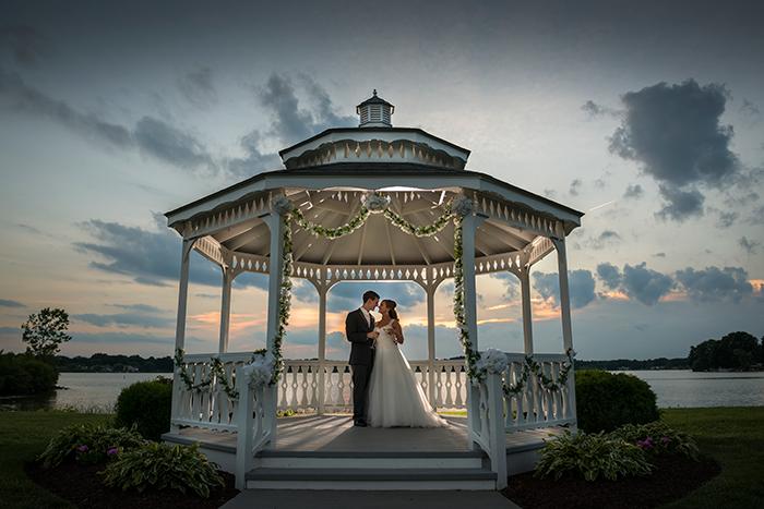 Marissa & Tanner - SpringLake Party Center Soiree | Dom Chiera Photography | Real weddings as seen on Today's Bride | real ohio outdoor wedding, gazebo, purple plum wedding ideas, wedding dress,
