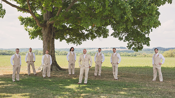 Amanda & Shawn - The Sweetest Day | Oh Snap! Photography | Real Wedding As seen on TodaysBride.com | Real ohio wedding, blush and gold wedding, wedding photography, blush and gold wedding color pallet groomsmen in tan tuxedos suits