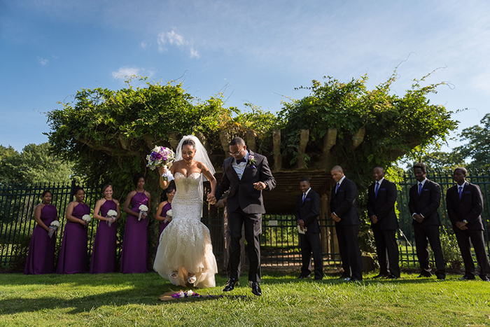 Alexandra & Myles - Fairy Tale Mansion Wedding | Human Artist Photography | As seen on TodaysBride.com | Real ohio wedding fairy tale wedding purple and silver wedding, wedding dress, wedding gown, wedding veil, outdoor wedding jumping the broom