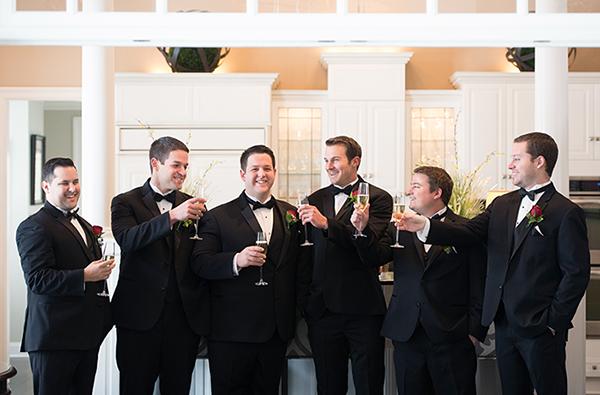 Meghan & Roberto - Seasonal Scarlet Wedding Day | Real Cleveland Ohio Wedding as seen on TodaysBride.com, scarlet red and grey pewter wedding inspiration, elegant wedding groomsmen