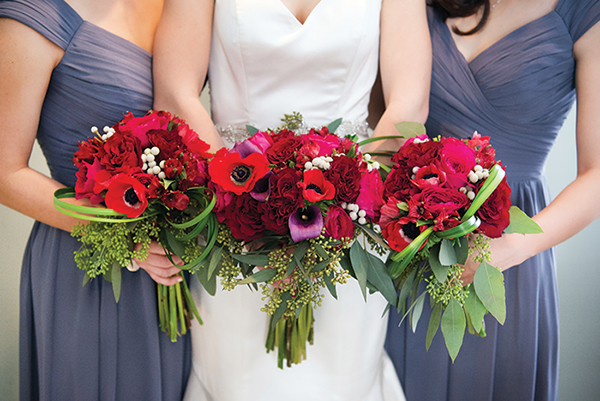 Meghan & Roberto - Seasonal Scarlet Wedding Day | Real Cleveland Ohio Wedding as seen on TodaysBride.com, scarlet red and grey pewter wedding inspiration, elegant wedding, red flowers with grey bridesmaid dresses gowns bridal bouquet