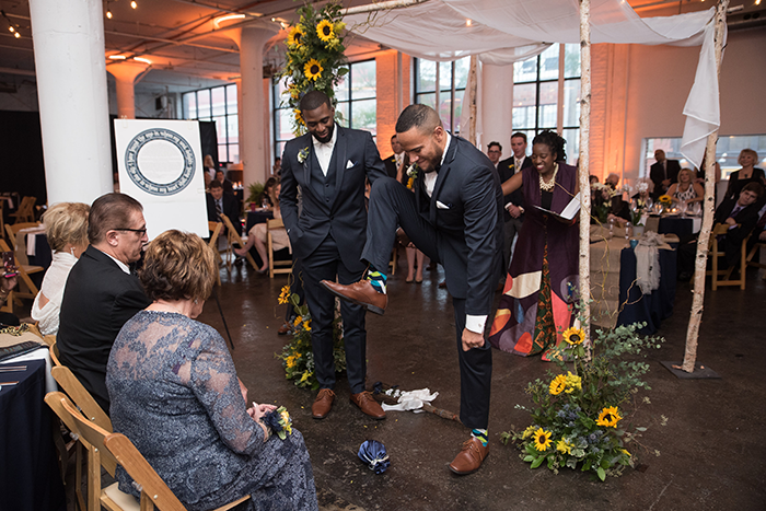 Mario & Ryan - Rustic Meets Modern | JazzyMae Photography, real cleveland wedding as seen on todaysbride.com, gay wedding, lgbtq wedding, cleveland wedding, warehouse wedding, navy and yellow wedding