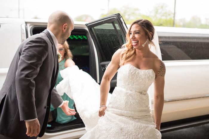Bride and Groom leaving Limo | Sabrina Hall Photography | As seen on todaysbride.com