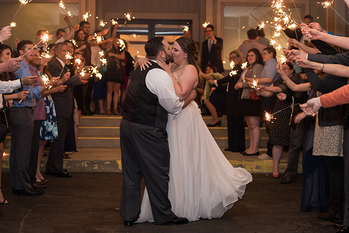 Kelsey & Brandon - Spring Sunflower Wedding, as seen on TodaysBride.com, sabrina hall photography, blue and yellow wedding with sunflowers, plus size bride, blue and yellow wedding colors, sparkler send off, sparkler exit