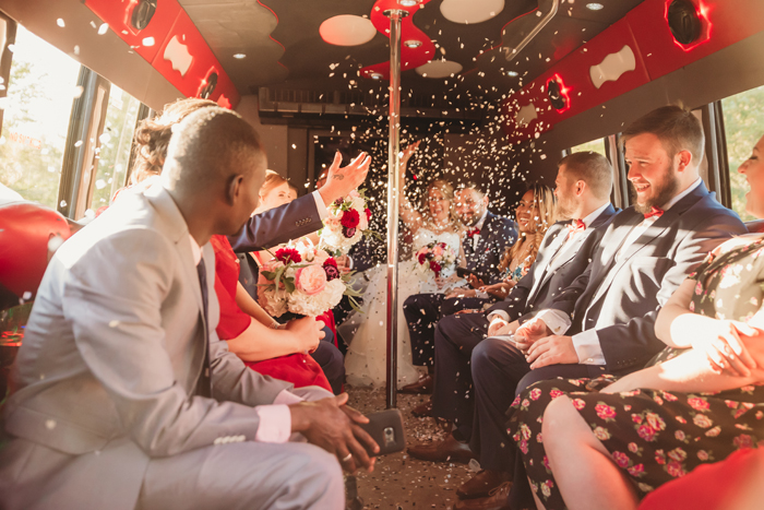 Wedding Party in a Limo | Jadie Foto | As seen on TodaysBride.com
