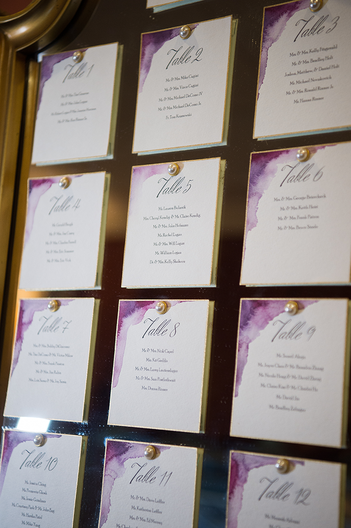 Watercolor Wedding - Real Wedding by Klodt Photography on TodaysBride.com, purple watercolor wedding ideas, wedding dress, watercolor wedding decor, purple wedding colors, table seating chart