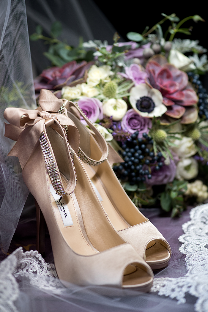 Watercolor Wedding - Real Wedding by Klodt Photography on TodaysBride.com, purple watercolor wedding ideas, wedding dress, watercolor wedding decor, purple wedding colors, wedding shoes