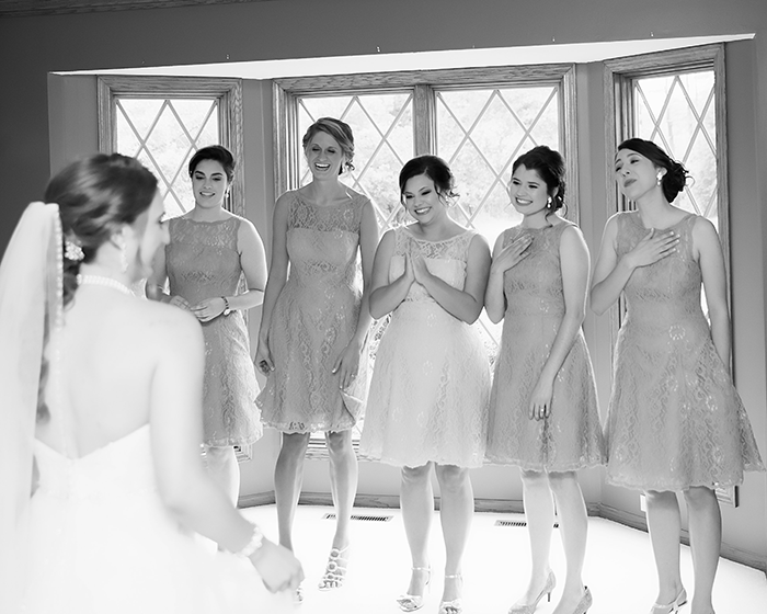 Jessica & David - Romantic Medina Wedding, real ohio wedding photographed by OH Snap! Photography, romantic vintage wedding as seen on TodaysBride.com bridesmaids dresses, bridesmaid first look