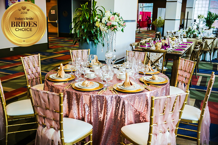 Today's Bride Wedding Show Reception Table Gallery, wedding decor inspiration, pink and gold wedding, centerpiece idea, blush and gold wedding decor