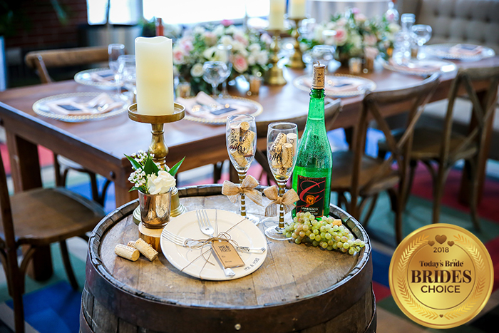 Today's Bride Wedding Show Reception Table Gallery, reception table inspiration, winery wedding inspiration, rustic wedding centerpiece idea