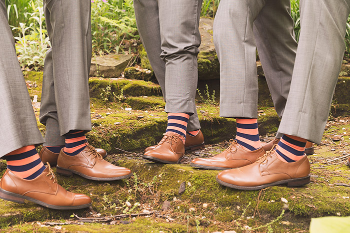 Rachel & Robert - Todaro Party Center Wedding, real wedding, navy and coral wedding, old truck wedding photos, wedding inspiration, groomsmen socks