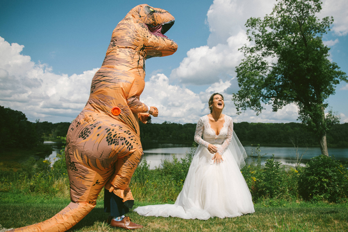 T-rex Costume and Bride | too much awesomeness | As seen on TodaysBride.com