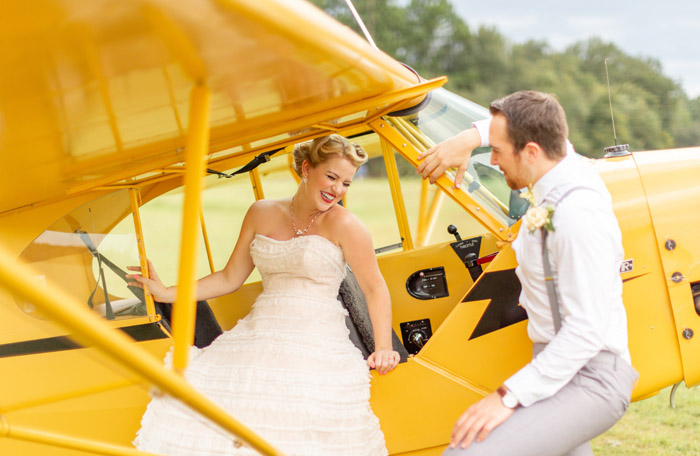 Bride and Groom with Vintage Plane | Torianna Brooke Photography | as seen on TodaysBride.com
