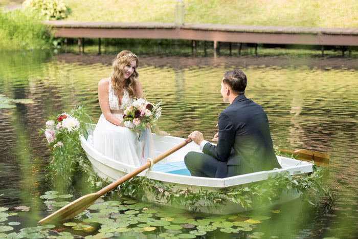 Bride and Groom in a Boat | Sabrina Hall Photography | As seen on TodaysBride.com