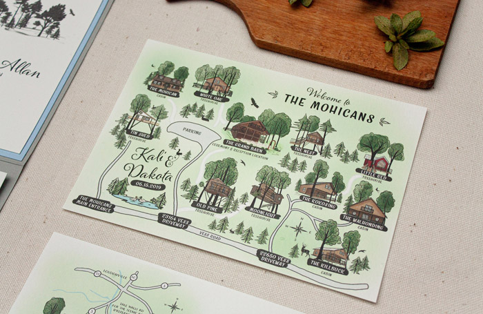 Hand-drawn Map | Brittney Nichole Designs | As seen on TodaysBride.com